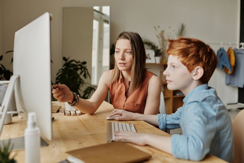 Mother and son using a computer